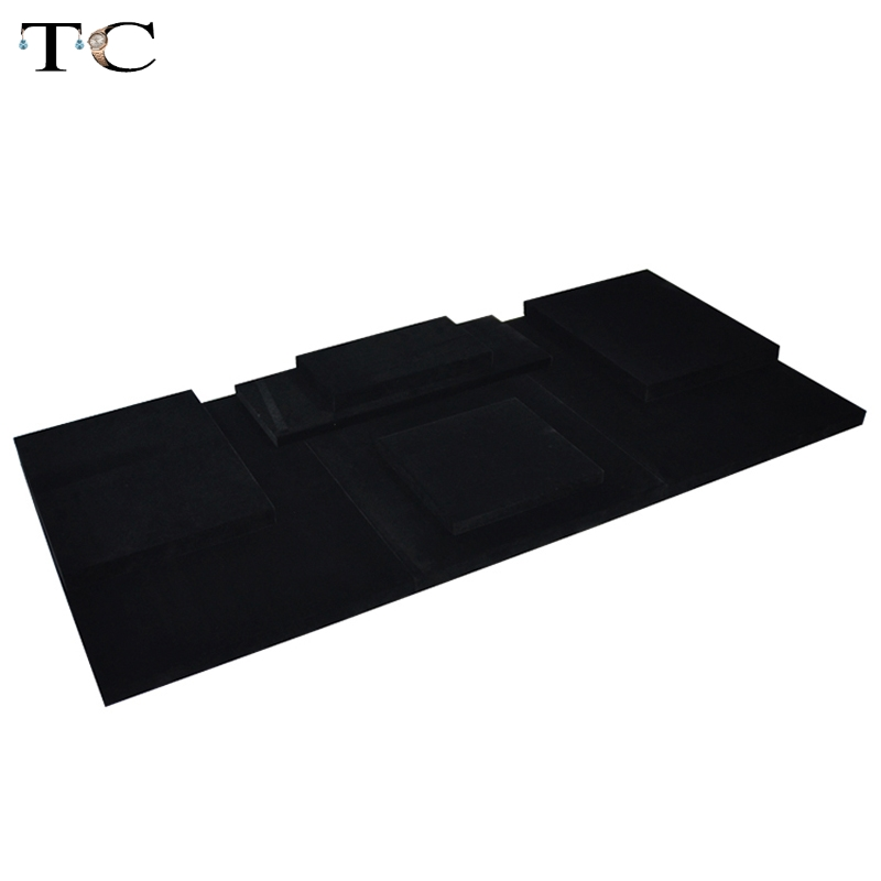 MDF Board Black Velvet Jewelry Diplay Stand Jewellery Window Showcase 110*50*2cm ...