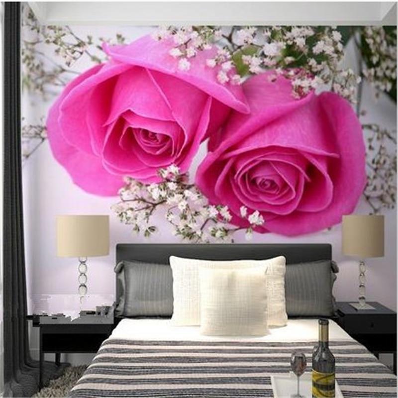 US $8.25 45% di SCONTO|Beibehang Grande Murale Sfondo Carta da Parati  Camera da Letto Comodino Personalizzato Murales Personalizzato Rose Rosse  3d ...