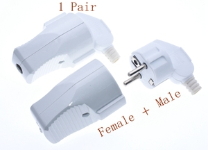 1pair 250v 16a Male Female Assembly Receptacle connector french Russia Korea German EU Schuko power cord wired cable plug Socket
