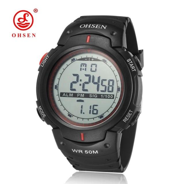 3d4fd27e64e OHSEN Digital Watch Men Relogio Masculino Electronic Wristwatch Army Red  Fashion Rubber Band Alarm Date LCD 50M Swim Sport Watch