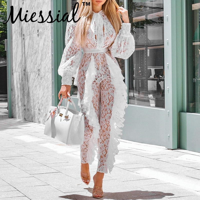 Miessial White Lace Ruffles Transparent Sexy Jumpsuit Women Long Sleeve Elegant Jumpsuit Winter Female Outwear Jumpsuit Overalls
