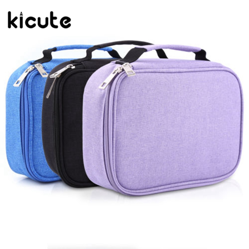 Kicute 1pcs 72 Slot Student Fabric Pen Bag Pencil Case Pouch Box Women Cosmetic Brush Holder High Quality Office School Supplies big capacity high quality canvas shark double layers pen pencil holder makeup case bag for school student with combination coded lock