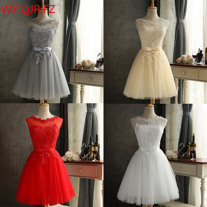 Red And White Lace Prom Dress: HJZY65X#Lace Up Champagne Grey Red White Short Bridesmaid