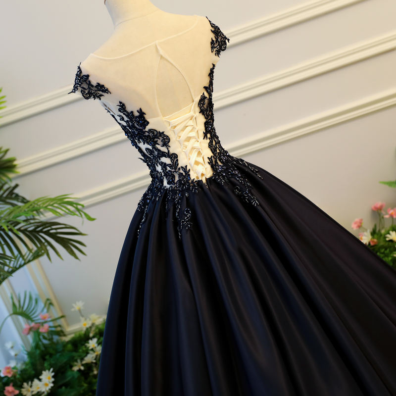 Aliexpress Buy Black Quinceanera Dress Satin With Lace Vestido
