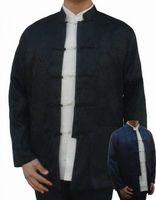 블랙 네이비 블루 중국어 남성 실크 새틴 재킷 참신 쿵푸 코트