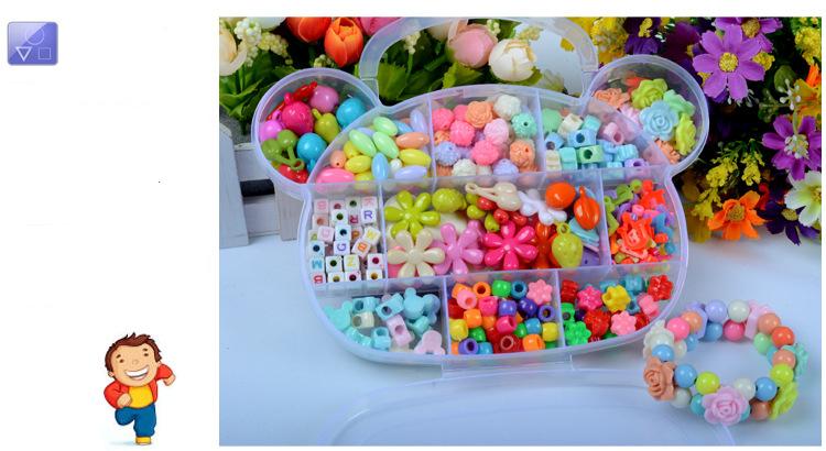 Children DIY Plastic Acrylic Bead Kit Girl Toys DIY Beaded Handmade Bracelet Amblyopia Training Color Puzzle Early Education Toy (19)