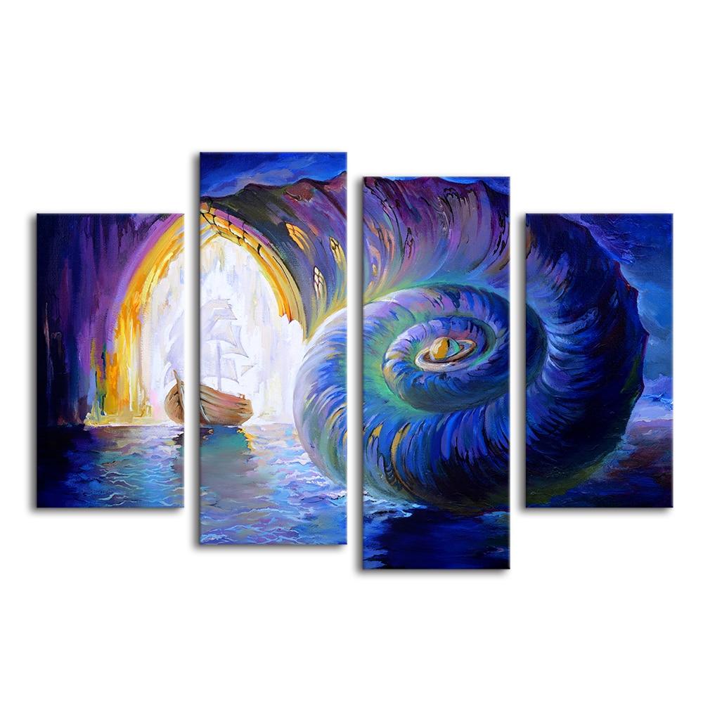4 pannelli pittura astratta stampe a vela e buccino poster da parete per soggiorno camera da - Poster grandi da parete ...