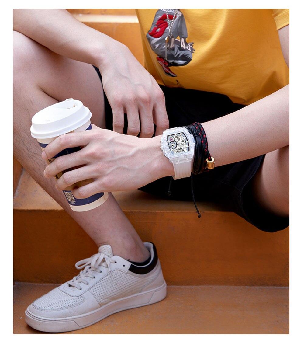 HTB1UXejXpY7gK0jSZKzq6yikpXaE luxury mens wristwatches Transparent quartz waterproof Multifunction man watches square white fashion clocks