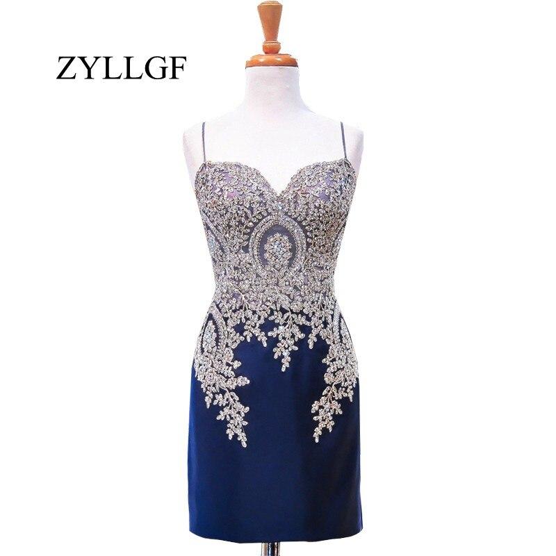 ZYLLGF bleu marine mère de mariée robes courtes 2018 gaine chérie Spaghetti sangle or dentelle robe de mariée RS72