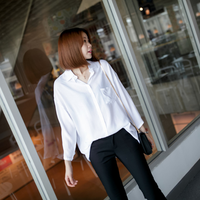 White Blouse Full Sleeve Casual Plus Size Pockets OL Ladies Clothes Spring Autumn Camisa Feminina