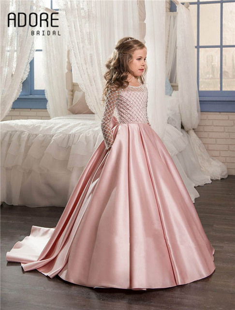 2dc1981ca027 Elegant blush pink satin beaded flower girl dress long sleeve with sequin  bow sashes ruched princess girl holy communion dress
