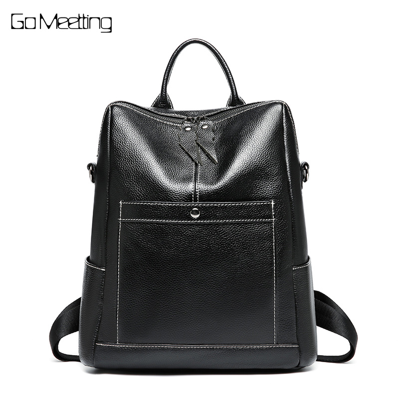 цена на High Quality New Fashion Black Genuine Leather Women's Backpack Female Girl Backpacks Large Capacity Lady Travel Shoulder Bags