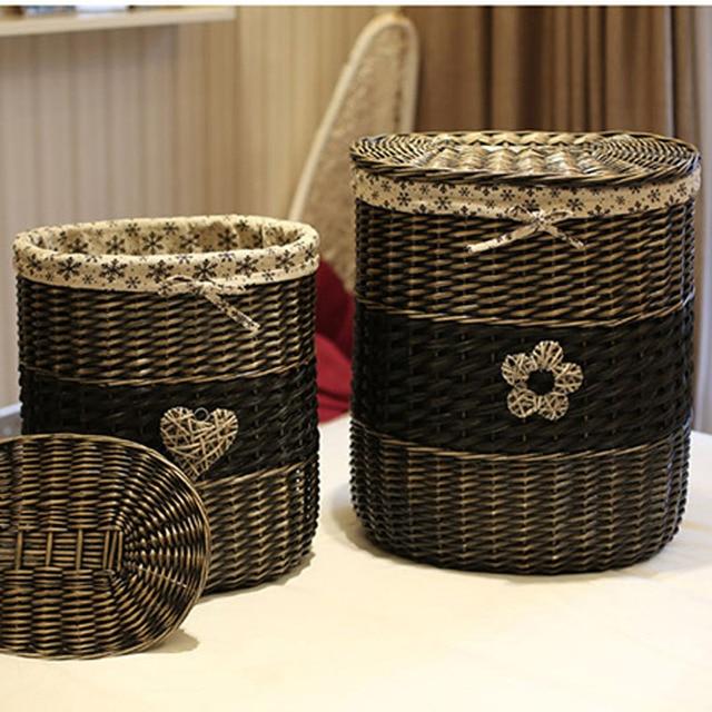 Vintage en osier panier de rangement avec couvercle grand - Panier decoratif osier ...