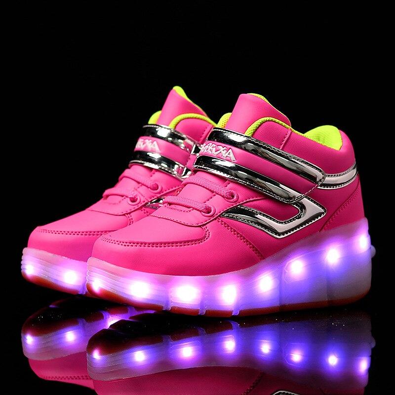 Новый стиль Колёса Детская S Shine Обувь со светодиодной подсветкой Красочные ночник Обувь зарядка через USB Обувь для прогулок