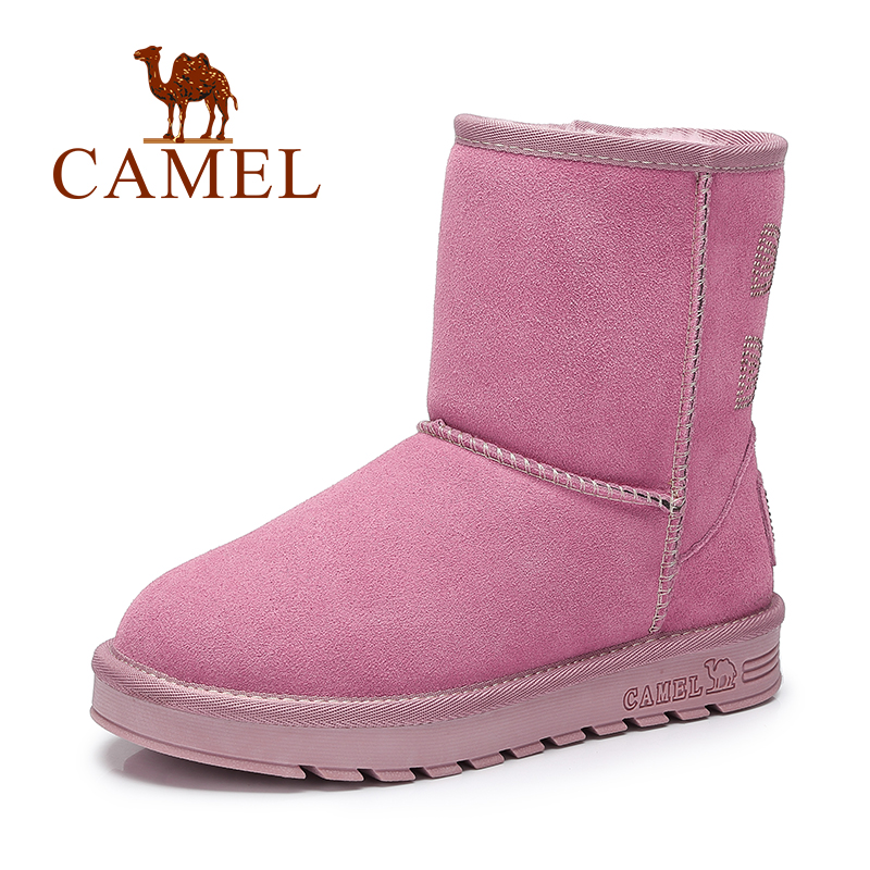 Camel Women Winter Short Plush Lining Warm Snow Boots Mid-calf Thick Cold Boots Slip-on