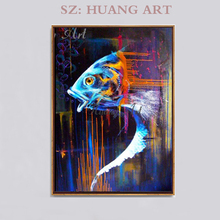 New design popular and hot sell impression animal fish oil painting for living room decoration home hotel aisle sofa