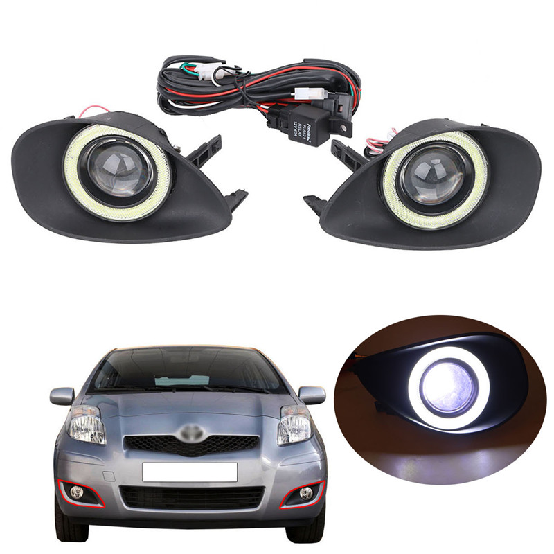 LED COB Angel Eyes Front Fog Light Lamp For Toyota Yaris 2007-2009 Car Projector Lens Foglights  CAR-Q // купить