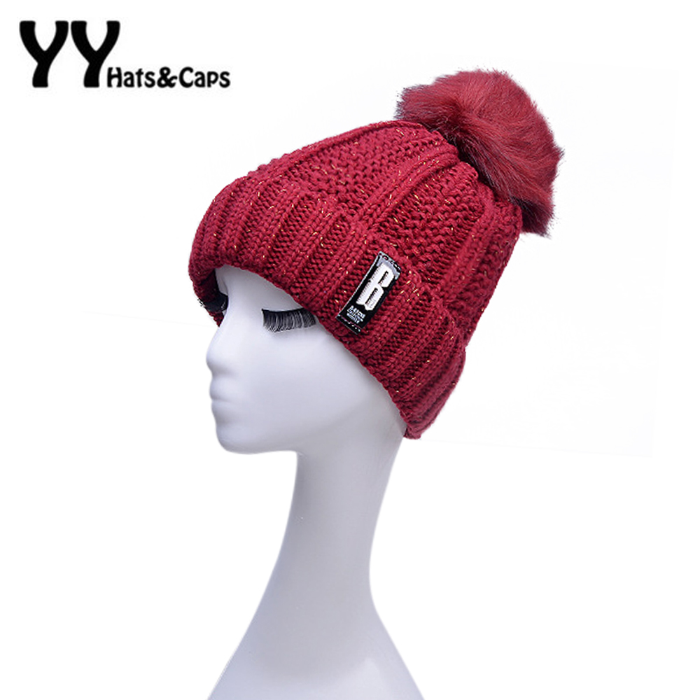 2016 Winter Autumn Women Knitted Beanies Caps with Pompom Solid Colors Ski Gorros Cap Letter B Warm Skullies Hat YY60559 2017 letter 2018 beauty hat for women knitted cap autumn winter warm skullies beanies empty hat scarf two use 3 colors 8404