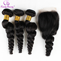 Virgin Brazilian Loose Wave Hair With Closure 100% Human Hair With Closure Grade 6A Hair 3 Bundle Deals With Lace Closure