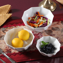 White ceramic bowl of soup creative Steamed Rice bowl Fresh Fruit Salad dessert bowl style tableware