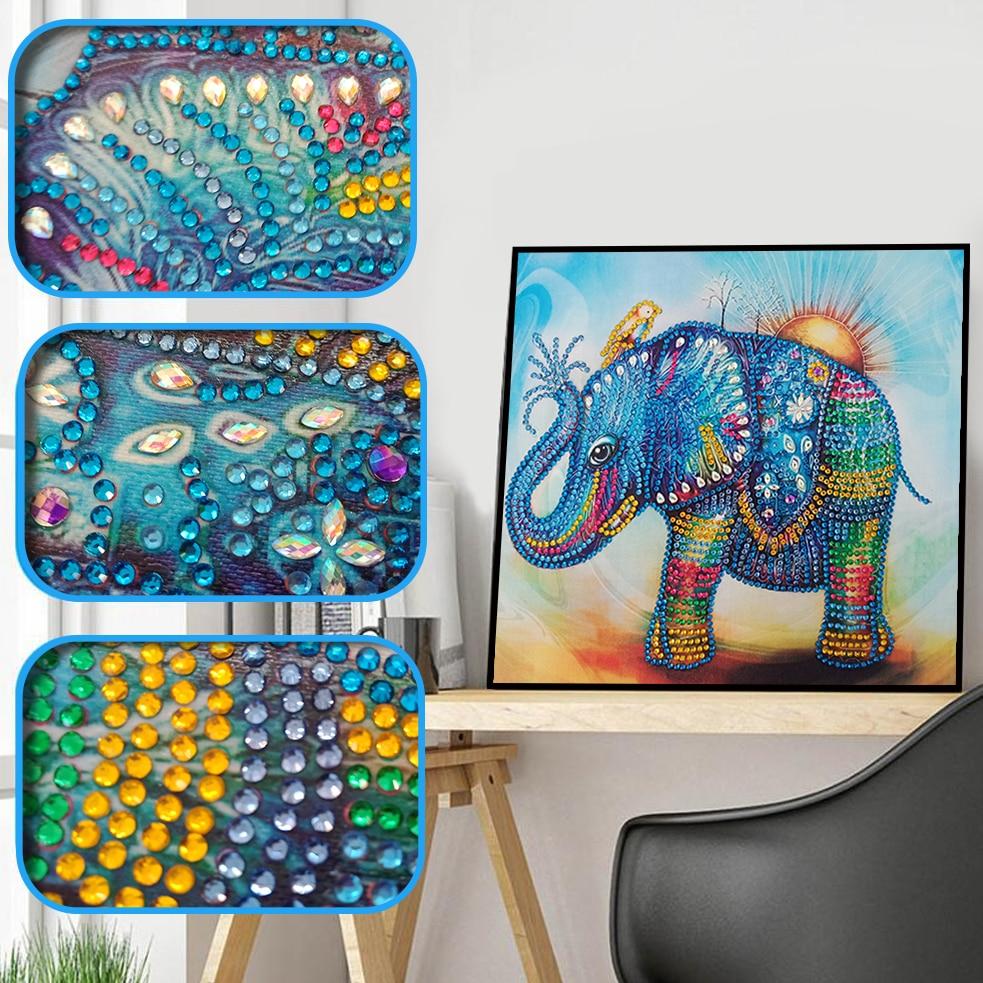Special Shaped Diamond Painting Elephant Diamond Embroidery 5D DIY Animal Rhinestone Mosaic Sale Beads Home Decoration 30x30cm