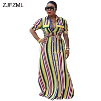ZJFZML Rainbow Vertical Striped Sexy Loose Dress Women Half Sleeve Turn Down Collar Maxi Robe Casual Belted Button Shirt Dresses
