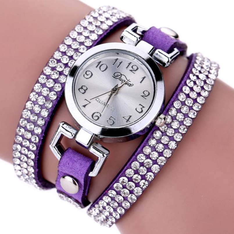 Excellent Quality Duoya Luxury Brand Casual Womens Watches Leather Crystal Rivet Bracelet Watch Girls ladies Femmes Watches