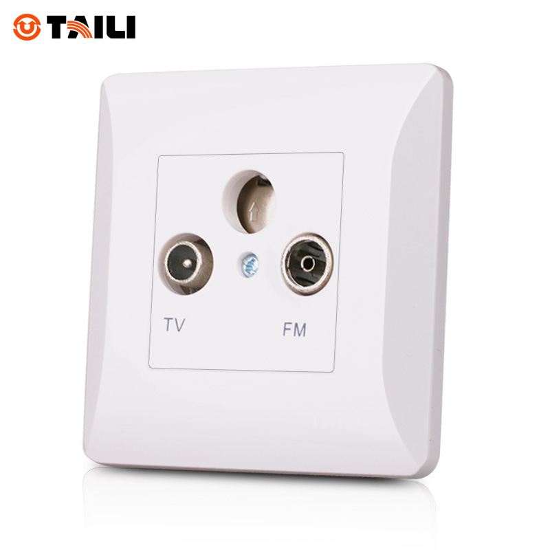 TAILI Manufacturers One Gang TV+FM Socket Outlet Without Plug adapter White High Quality Free Shipping
