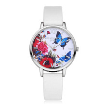 Butterfly Printed Quartz Wristwatch Leather Strap Women Watches
