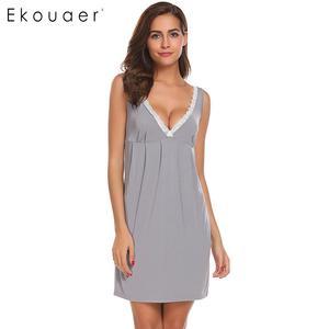 Image 1 - Ekouaer Night Dress Women Sexy Chemise Lingerie Nightgowns V Neck Sleeveless Lace Trimmed Nighties Sleepwear Nightdress 3 Colors