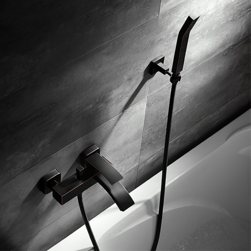 Ensemble de robinet de douche de salle de bain moderne en laiton robinet de baignoire chaude et froide mitigeur de douche mural noir cascade douche de bain
