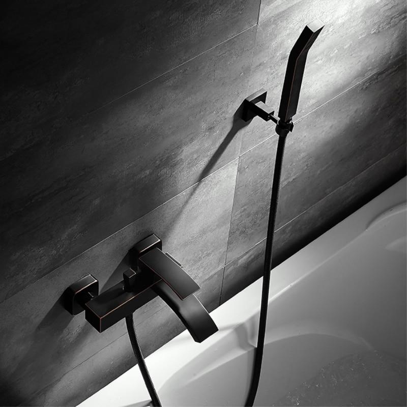 Modern Bathroom Shower Faucet Set Brass Hot and Cold Bathtub Faucet Wall Mounted Shower Mixer Tap Black Waterfall Bath Shower