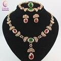 Belas colar jogo para as mulheres Beads africanos jóia de cristal conjunto de jóias pingente brincos pulseiras festa acessórios vestido de noiva