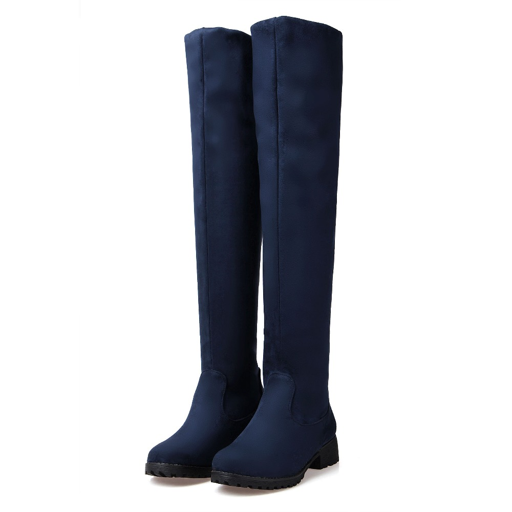 2018 Tamaño Rodilla De Pu Mujeres La Negro Nuevo Lm1 Invierno Elegante Muslo Estiramiento Zapatos Mantener Sobre On Caliente Lenkisen Grande Altas Solid Botas brown azul Slip pqEFwdpCx