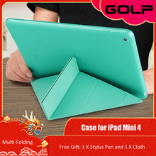 Case for iPad Mini 4,GOLP Smart PU Leather Multi-folding Cover Hybrid Soft Flexbility translucent TPU back Case for iPad Mini 4 case for ipad pro 10 5 esr pu leather translucent back hybrid soft bumper corner slim smart cover case for ipad pro 10 5 inches