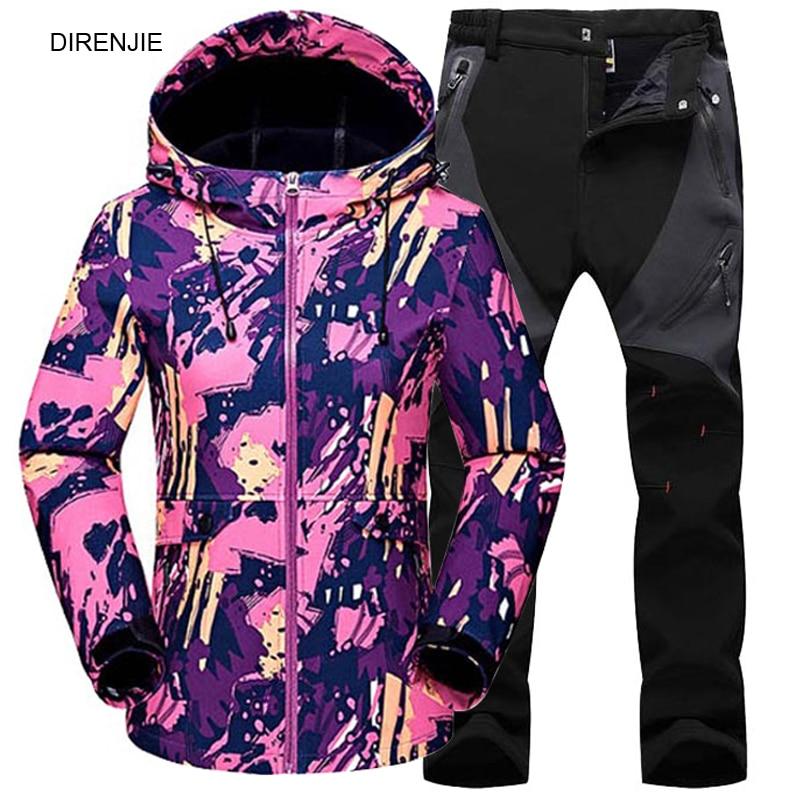 DIRENJIE Woman Winter Outdoor Hiking Trekking Fishing Camouflage Keep Warm Waterproof Fleece Hoodie Jacket +Soft Shell Pants set fleece camouflage pullover hoodie