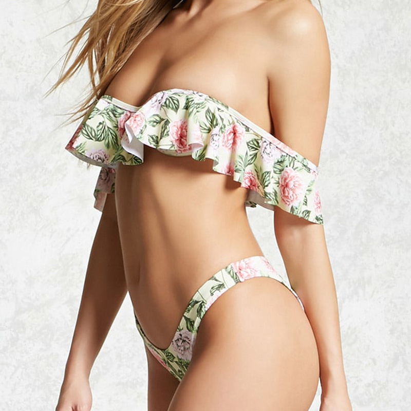 High Cut Women Ruffle Swimsuit Off Shoulder Bikini Set Bandage Floral Printed Low Waist Biknis Women Bath Suit Swimwear