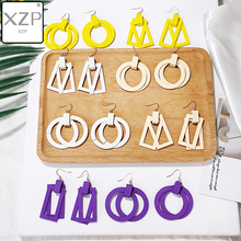 цена на XZP Korean Double Layer Wooden Drop Earrings Women Yellow Purple White Geometric Round Square Dangle Earrings Girls Jewelry Gift
