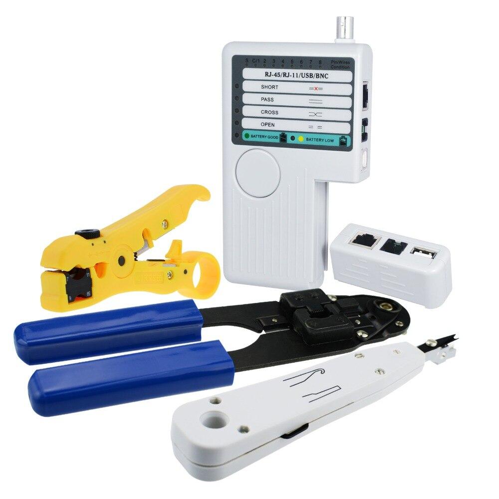 Ensemble combiné Kit d'outils testeur de câble réseau-outil de sertissage pince à sertir RJ45 RJ11 USB BNC outil universel de dénudage de câble