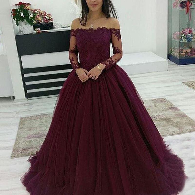 Bordeaux manches longues Quinceanera robes robe de bal épaule dénudée bal Debutante seize 15 doux 16 robe vestidos de 15 anos