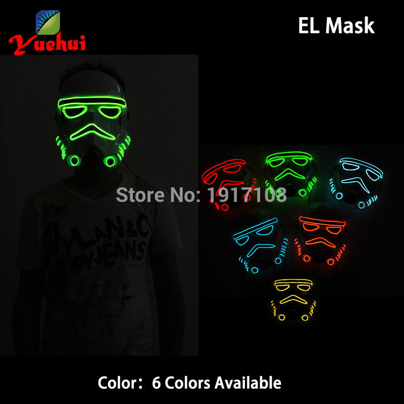 NEW Design EL wire Flashing 10 Color Choice Star Wars Movie Theme mask LED Glowing Mask Party Mask gift for Carnival, Halloween