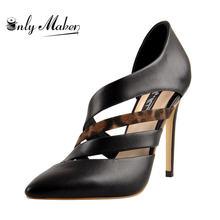Onlymaker/женские пикантные леопардовые туфли лодочки с острым