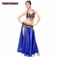 Bollywood Dance Costumes 3 Pcs Bra Belt Skirt Clothing For Dance 6 Colors Indian Dresses Practice