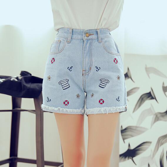Corea del nuevo verano de la cintura delgada elástico delgada recta pantalones cortos de mezclilla flanger patrón mujeres casual jeans mujer