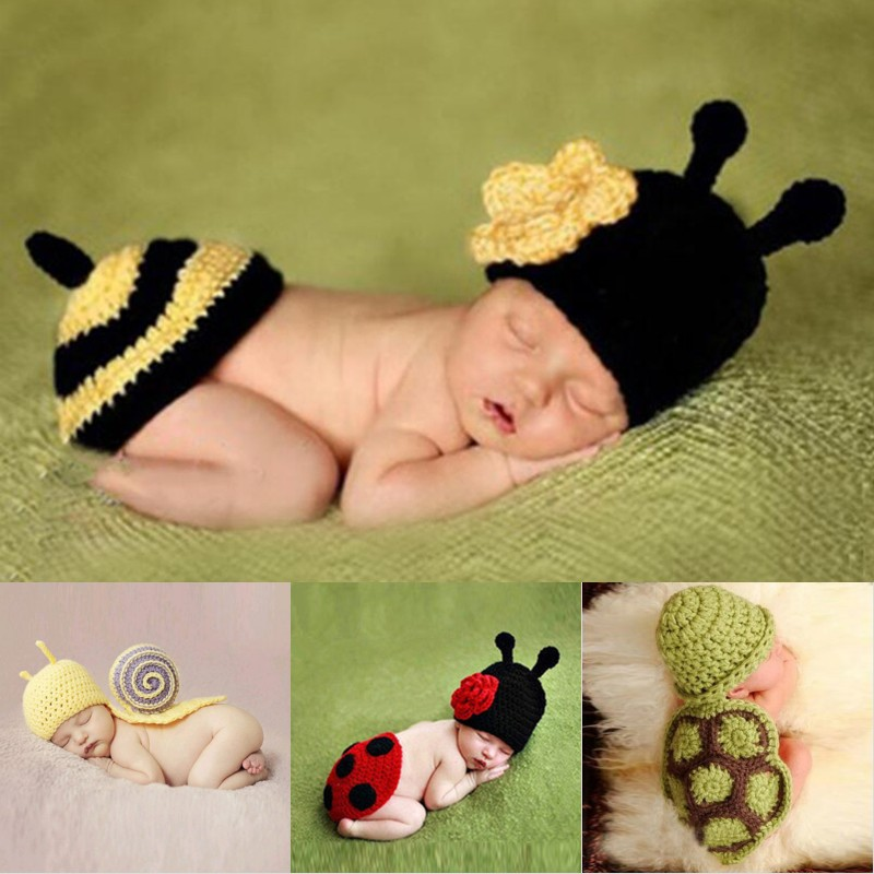 Newborn Photography Props Photo Crochet Baby Bee Clothes Caps Costume Crochet Outfits Cotton Hat Animals Set for 0-6 Months Baby newborn baby photography props infant knit crochet costume peacock photo prop costume headband hat clothes set baby shower gift