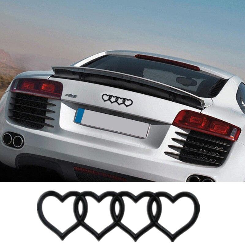 For Heart Love Logo Trunk Badge Emblem Rear Car Logo Decal Sticker Replacement For Audi A3 A4 A6 A8 Q3 Q5 Q7 TT RS6 universal car styling logo emblem metal license plate frame bolt screw for audi s line a4 a4l a6 a5 a7 a8l q3 q5 s5 tt tts