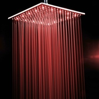 becola 16 inch LED shower head brass chrome square shower faucet Bathroom accessories LED161600