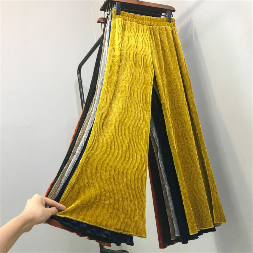 2018 Casual Long Pleated   Pant   Autumn Fashion Women Gold Velvet   Wide     Leg     Pant   All-match Legging Female Winter   Pants   Trousers W553