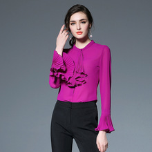 2017 New Spring Kakagogo Fashion Chiffon Ruffles Long Flare Sleeve Blouses Shirts Plus Size D054