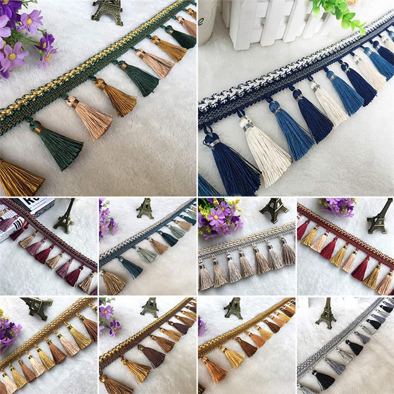 1 M Curtain Sewing Tassel Fringe Trimming Braid Trim Costume Sofa Upholstery Ribbon Lace